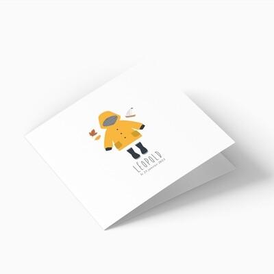 Faire-part de naissance ciré marin jaune 4 pages (dépliant)