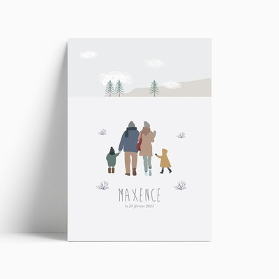 Faire-part de naissance Balade Hivernale en famille (troisième enfant)