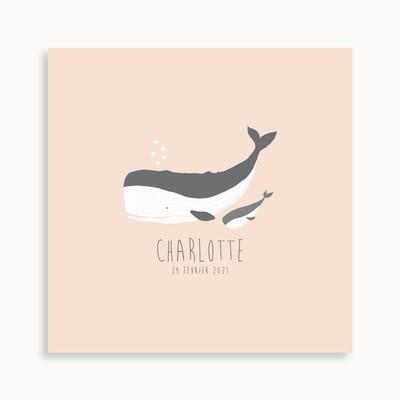 Faire-part de naissance petite baleine et sa mère pour fille
