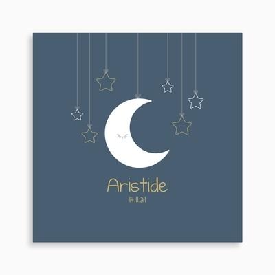 Faire-part de naissance lune suspendue et ses étoiles