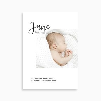 Faire-part de naissance photo moderne et chic (carte postale)