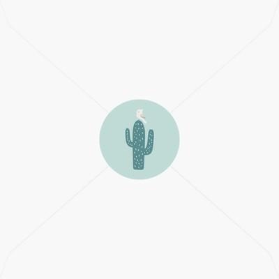 Stickers de naissance cactus avec son oiseau perché