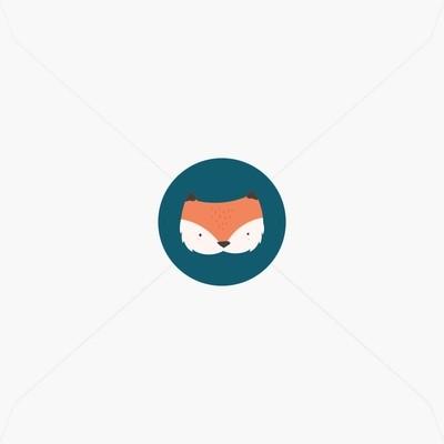 Stickers de naissance petit renard et couronne de feuilles