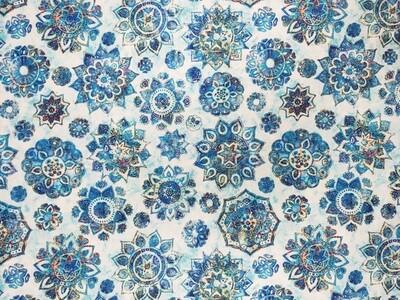 Kashmir Mandalas Blue Fabric by Quilting Treasures