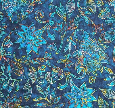 Kashmir Large Floral Navy Fabric by Quilting Treasures
