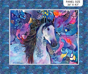 Northcott Muse Horse Panel Blue 36 inches by Kimberley Anderson