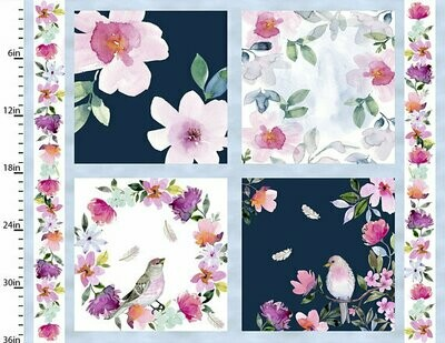 Floral Cushion Panel - Sew Your Own Floral Bird Quilt - Love Always by Stephanie Ryan