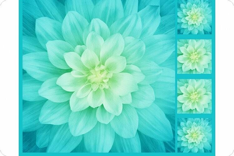 Shannon Fabrics Hoffman Floral Digital Cuddle®Panel Tidepool