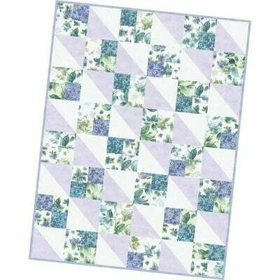 Watercolor Hydrangeas Four Square Quilt Precut Kit - POD by Maywood Studios