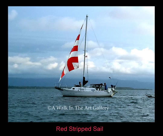 Red Striped Sail Photographic Print