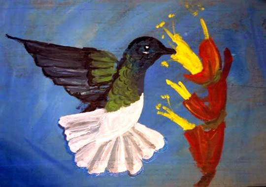 Hummingbird and Flower Driftwood Painting