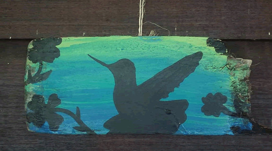 Hummingbird Silhouette Driftwood Painting