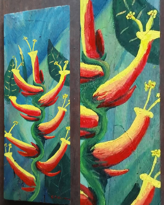 Heliconia Driftwood Painting