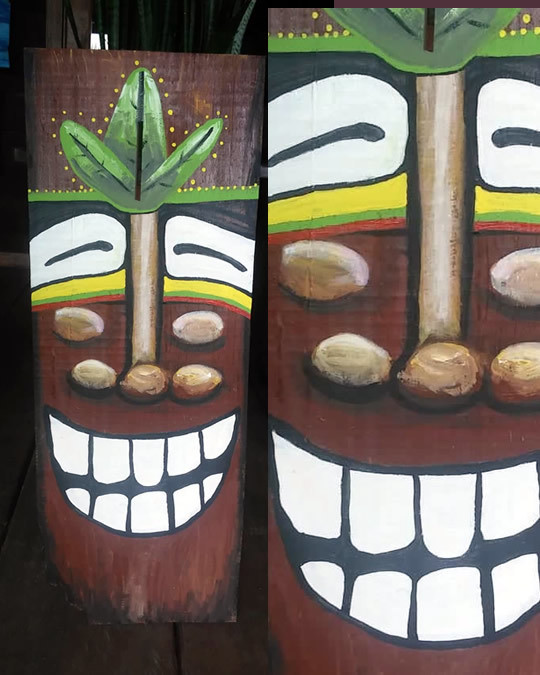 All Smiles Driftwood Tiki Painting