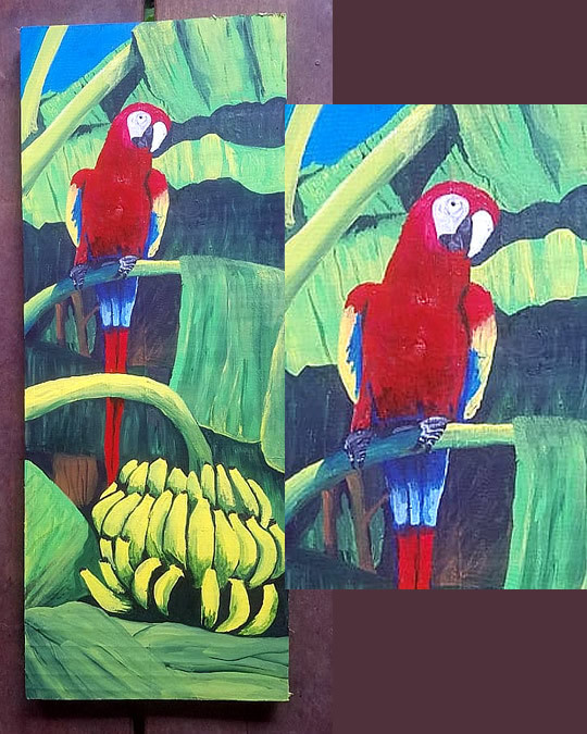 Parrot In Banana Plant Wood Tiki Painting