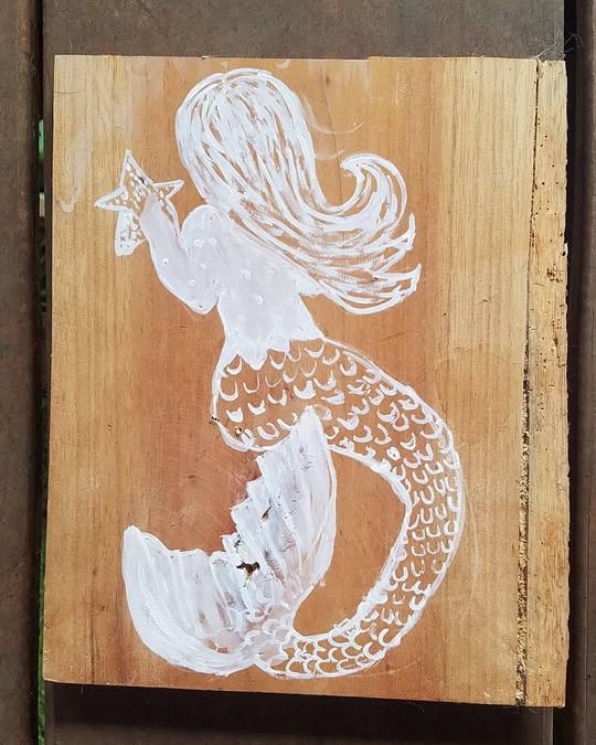 White Mermaid Painting On Wood
