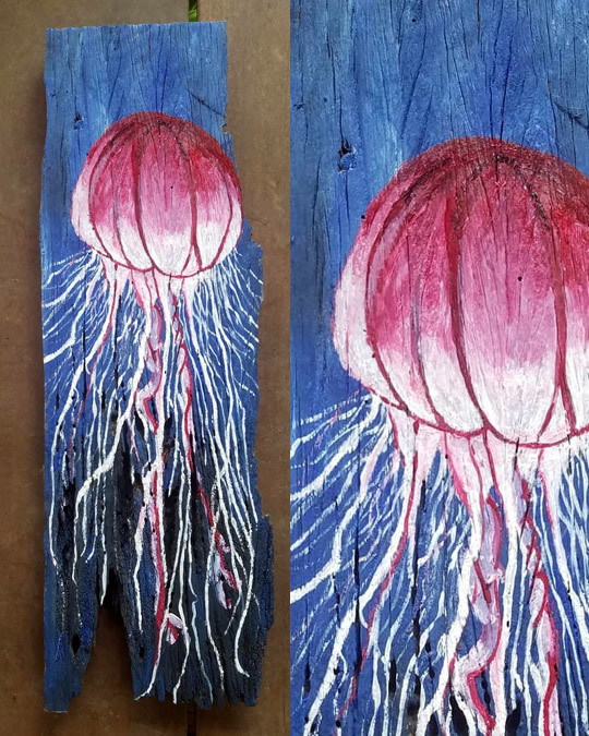Pasión Bajo El Agua Painting On Wood