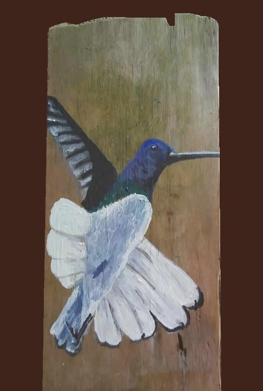 Hummingbird 3 Driftwood Painting