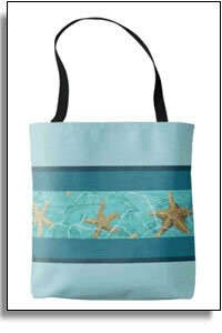 Starfish Blue All Over Printed Tote Bags