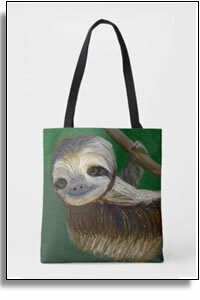 Happy Sloth All Over Printed Tote Bags