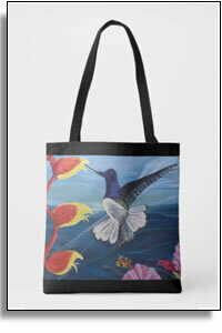 Hummingbird & Flowers All Over Printed Tote Bags