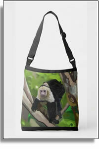 White Faced Capuchin Monkey and Baby  All Over Printed Tote Bags
