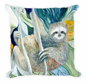 Sloth In The Rain Forest  Pillow