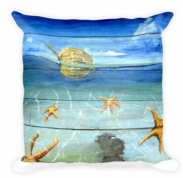 Tropical Starfish Beach  Throw Pillow
