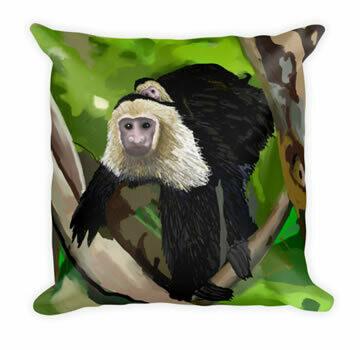 Monkey In The Rain Forest - Designer Throw Pillow