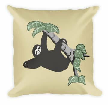Sloth Just Hanging - Designer Throw Pillow