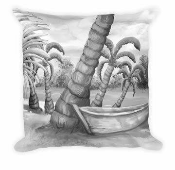 """Boat Sketch - Designer Throw Pillow"