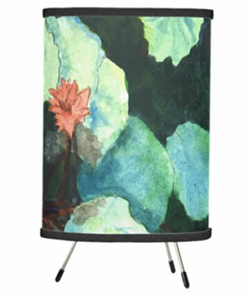 Lilies in Water Tripod Table Lamp
