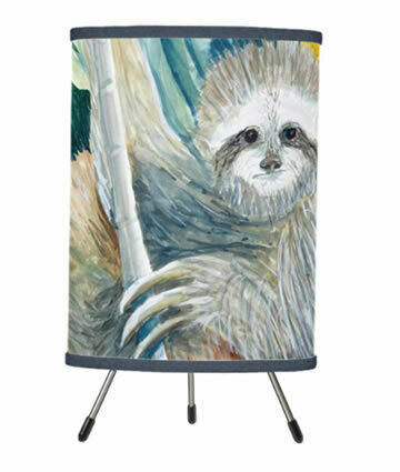 Sloth In The Rainforest Tripod Table Lamp