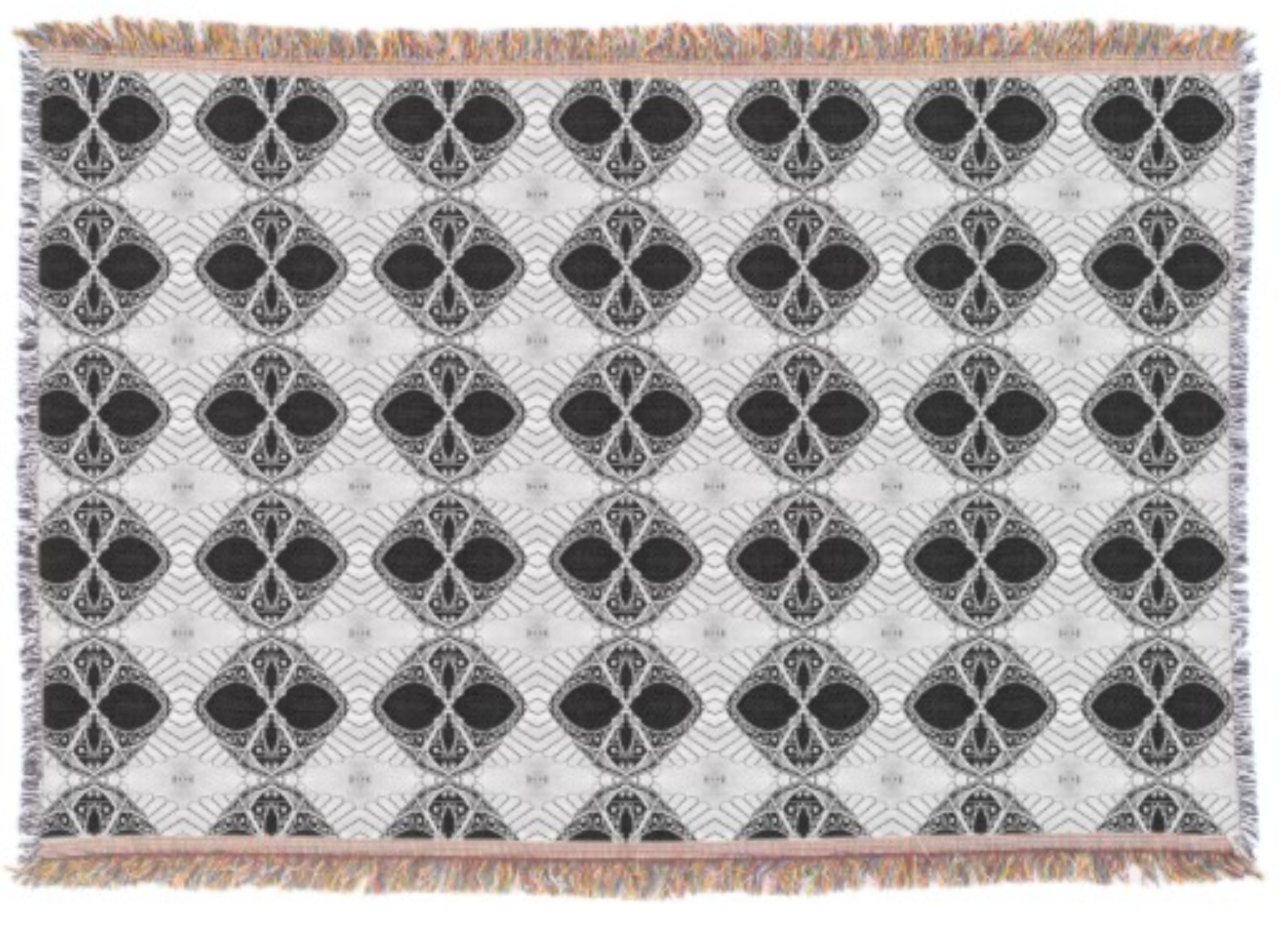 Black And White Pattern Throw Rug