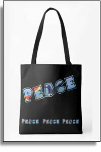 Peace All Over Printed Tote Bags