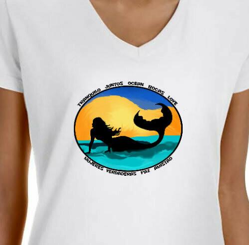 Sunset Mermaid  V Neck T-Shirt