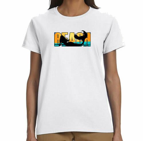 Beach Mermaid  R Neck T-Shirt