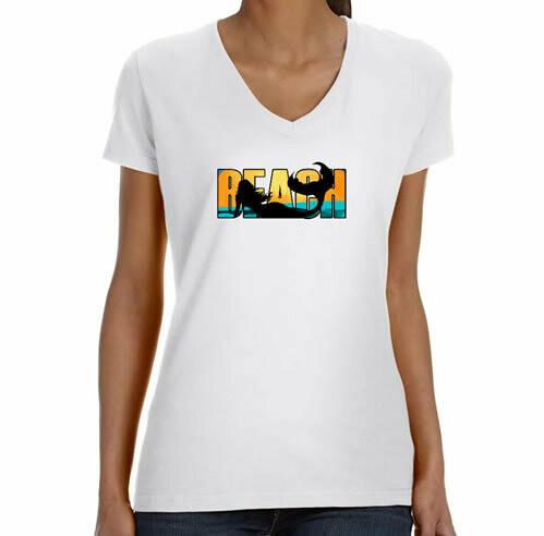 Beach Mermaid  V Neck T-Shirt