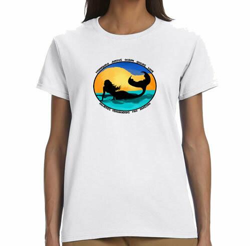 Sunset Mermaid  R Neck T-Shirt