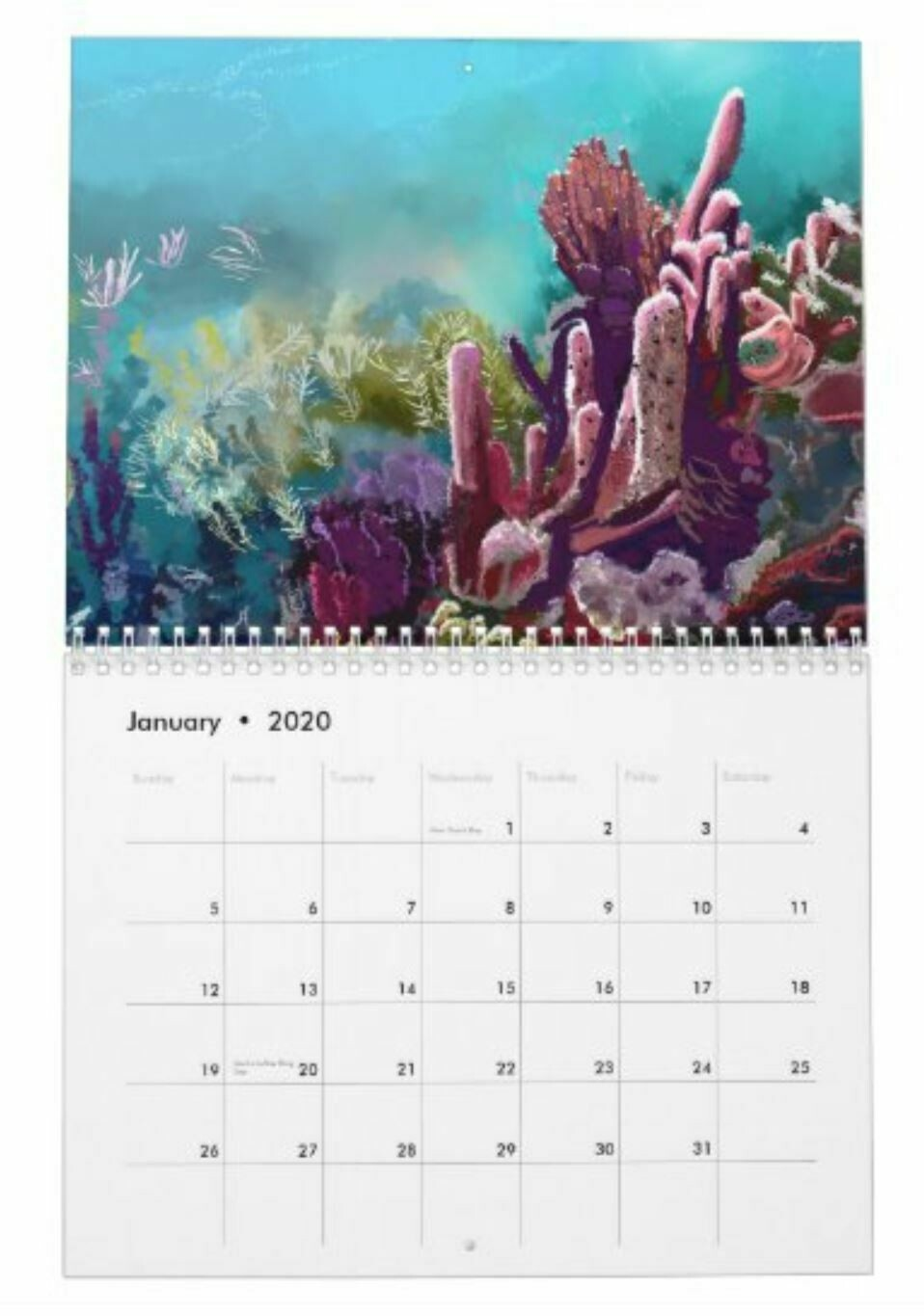 2020 Tropical Watercolor Calendar