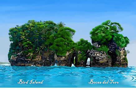 Bird Island Watercolor Print