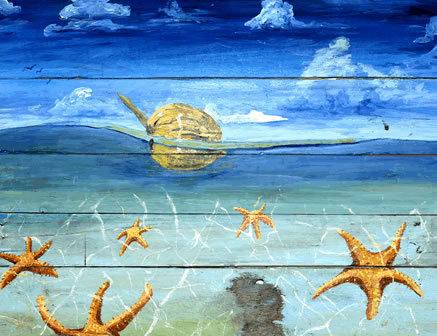 Starfish Beach Watercolor Print