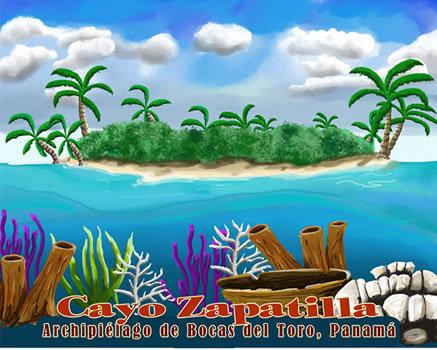 Cayos Zapatilla  Watercolor Print