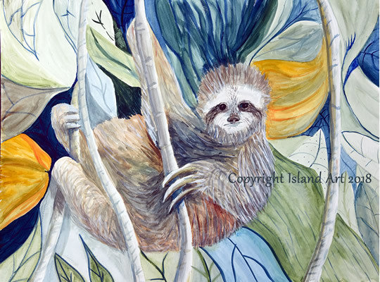 Sloth Island  Watercolor Print