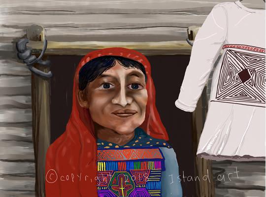 Anciana En Panamá Watercolor Print