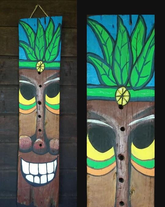 Ganja Man Driftwood Tiki Painting