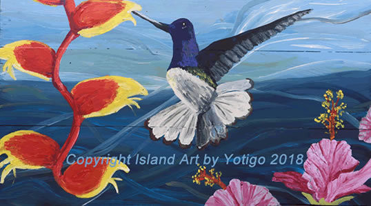 Hummingbird and Flower Painting on Wood