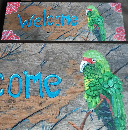 Parrot Welcome Driftwood Painting