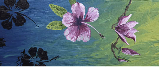 Pink Flower Driftwood Painting