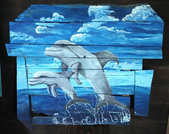 Dolphins Play In Dolphin Bay Driftwood Painting
